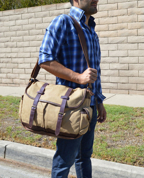 High-End Canvas & Italian Leather Messenger Bag - 17