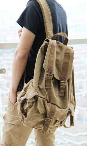 Light brown classic canvas rucksack backpack by Serbags