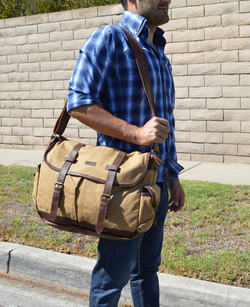 ... Large Waxed Travel Canvas   Leather Messenger Bag - ... 615f84afc