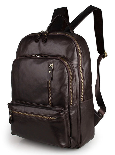 Multi-Compartment Leather Book-Bag