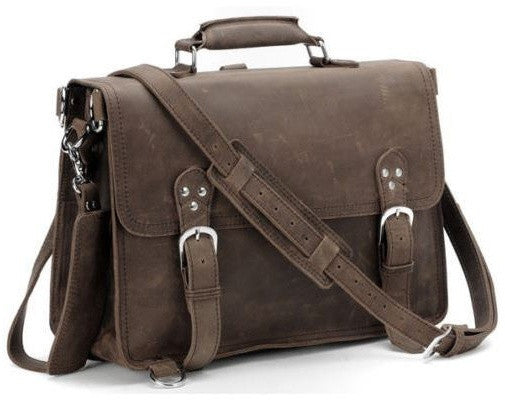 handcrafted distressed leather laptop briefcase by Serbags - front view