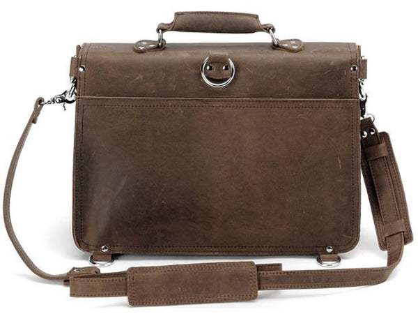 elegant and stylish handcrafted distressed leather laptop briefcase by Serbags