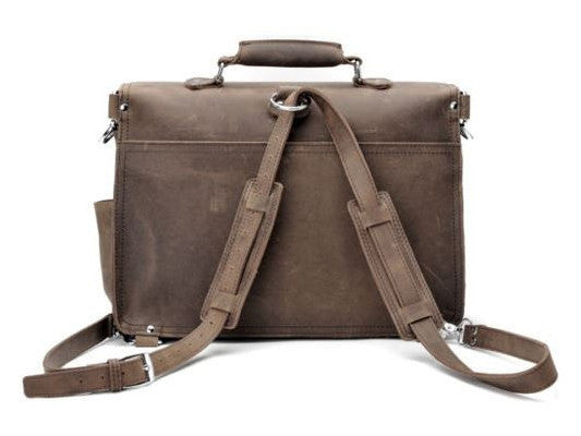 convertible handcrafted distressed leather laptop briefcase by Serbags
