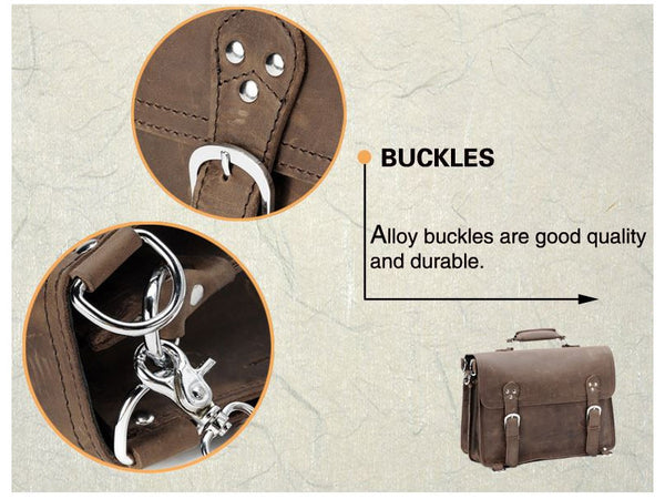 buckle and strap details on the handcrafted distressed leather laptop briefcase by Serbags