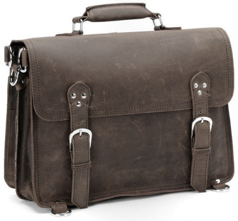 front view of the handcrafted distressed leather laptop briefcase by Serbags