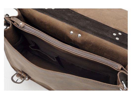 zipper & interior pocket details on the handcrafted distressed leather laptop briefcase by Serbags