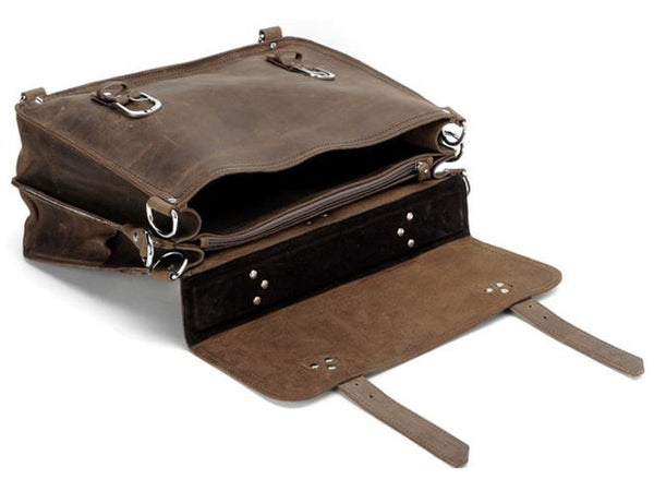 handcrafted distressed leather laptop briefcase by Serbags interior pockets