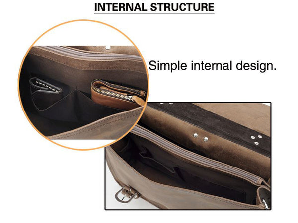 internal structure detail of the handcrafted distressed leather laptop briefcase by Serbags