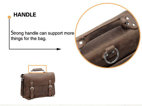 handle detail for the Handcrafted Full Grain Distressed Leather Laptop Briefcase Selvaggio