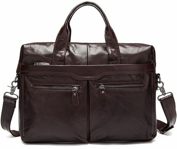 Staple Large Multi-Purpose Leather Satchel Handbag with Laptop Compartment