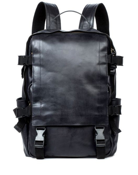 Leather Luxurious Flap-Over Backpack with Laptop Sleeve for School, Work & Outdoor Activities