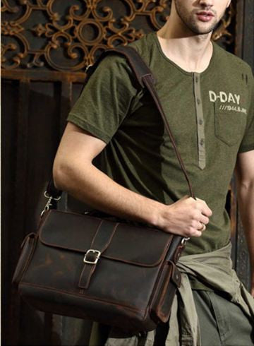 Single Buckle Leather Briefcase Messenger