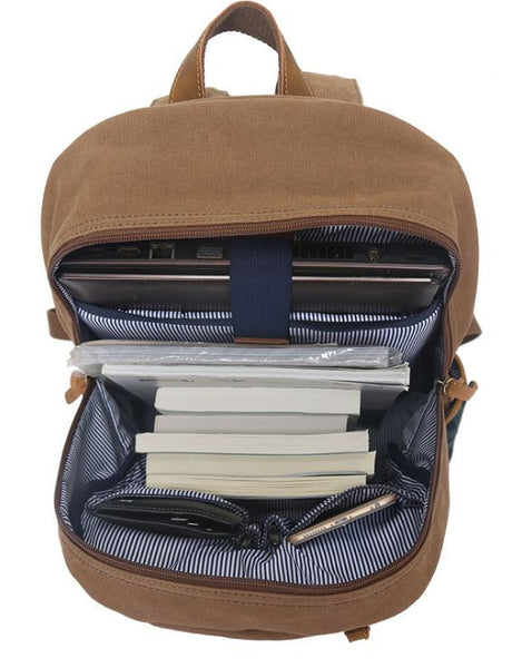 Lightweight Laptop School Backpack with Leather Accents