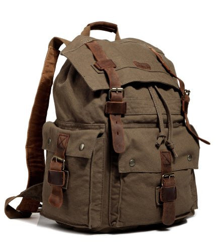 Side view of sturdy brown outdoor hiking canvas by SerBags