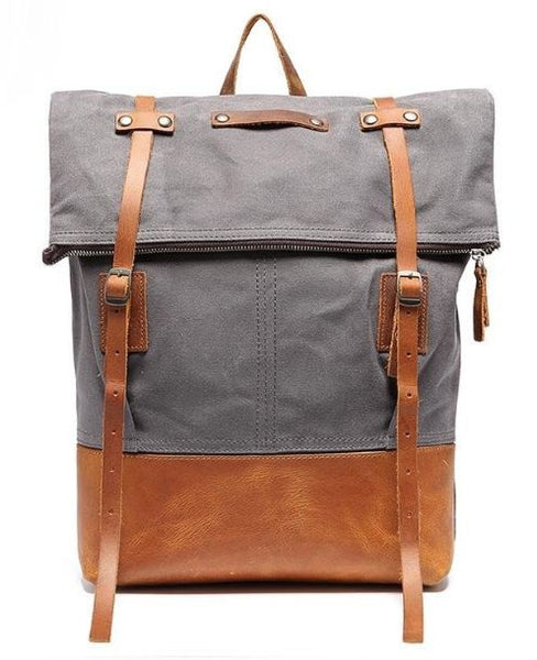 Waxed Canvas Backpack for School, College with Leather Bottom for Extra Durability - 15