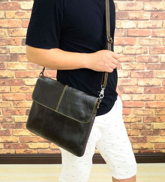 Genuine Black Leather Shoulder Bag with Adjustable Shoulder Strap