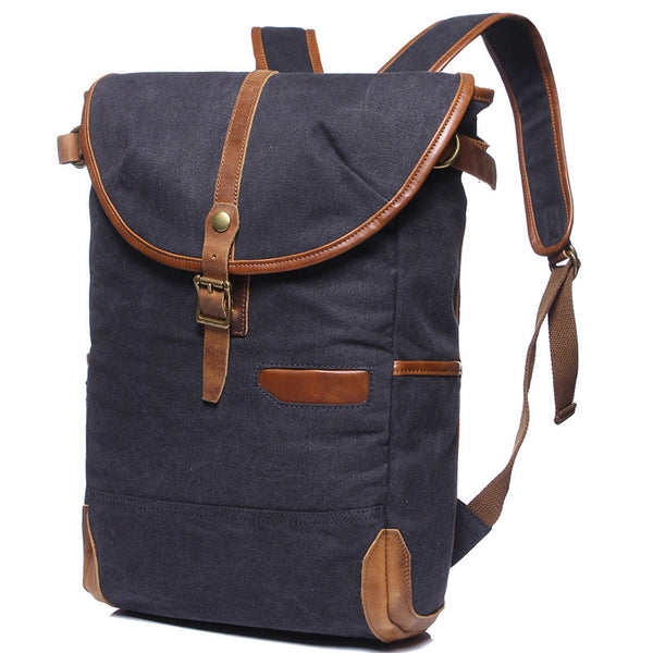 Laptop Premium Gray Canvas Leather Backpack