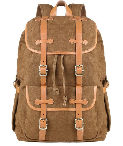 Front view - cotton backpack with leather straps by SerBags