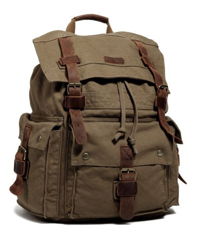 sturdy brown outdoor hiking canvas by SerBags - front view