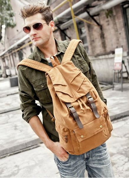 light brown military canvas & leather backpack
