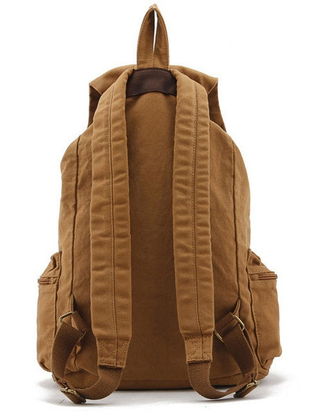 back view light brown military canvas & leather backpack