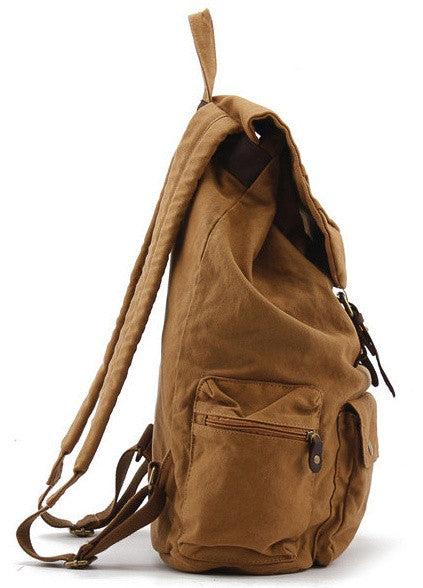 light brown military canvas & leather backpack - side view