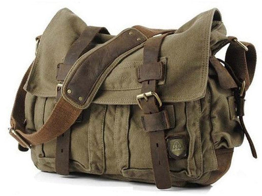 Military Canvas Messenger Bag Medium Size - Serbags  - 2