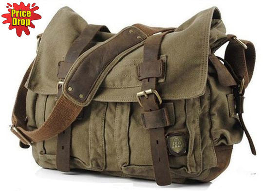 Military Canvas Messenger Bag Medium Size - Serbags  - 1