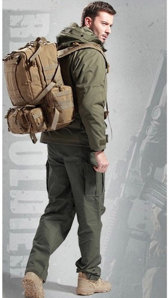 Hiker wearing the Serbags waterproof military hiking backpack 2