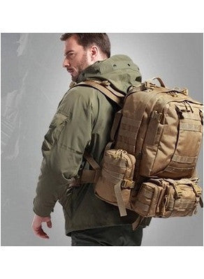 Hiker wearing the Serbags waterproof military hiking backpack