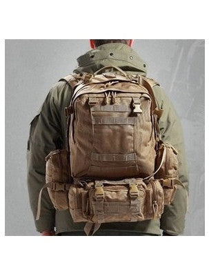 traveller wearing the Serbags military hiking backpack