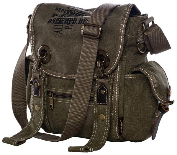 Military Inspired Multitask Canvas Satchel