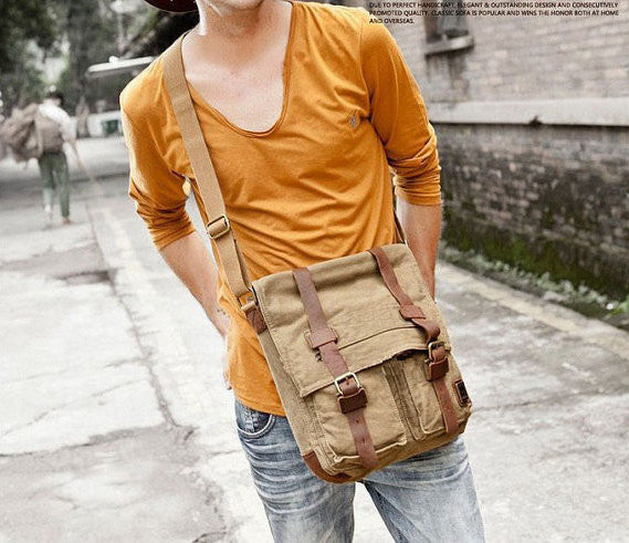 Military Canvas Shoulder Bag Army Green