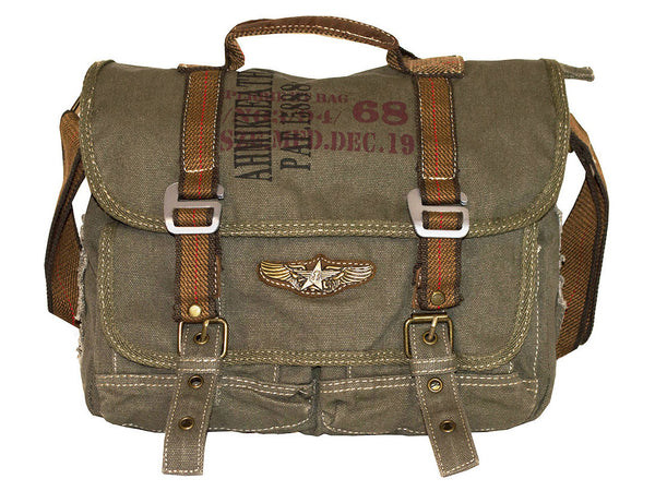 Military Vintage Canvas Over The Shoulder Messenger Bag - Larger Version - Serbags  - 2