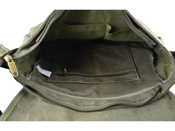 Military Vintage Canvas Over The Shoulder Messenger Bag - Larger Version - Serbags  - 8
