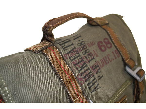 Military Vintage Canvas Over The Shoulder Messenger Bag - Larger Version - Serbags  - 5