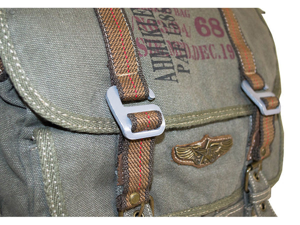 Military Vintage Canvas Over The Shoulder Messenger Bag - Larger Version - Serbags  - 4
