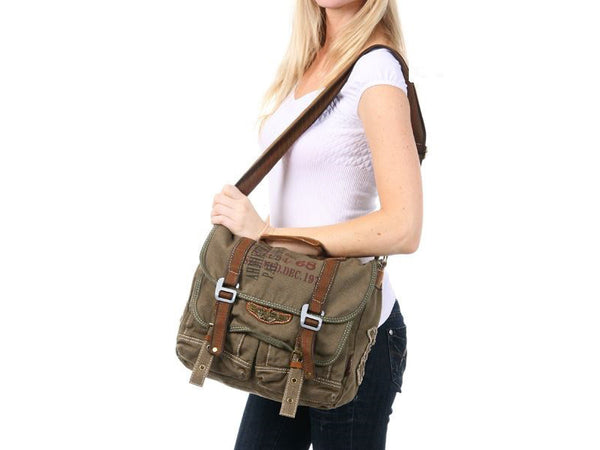 Military Vintage Canvas Over The Shoulder Messenger Bag - Larger Version - Serbags  - 9
