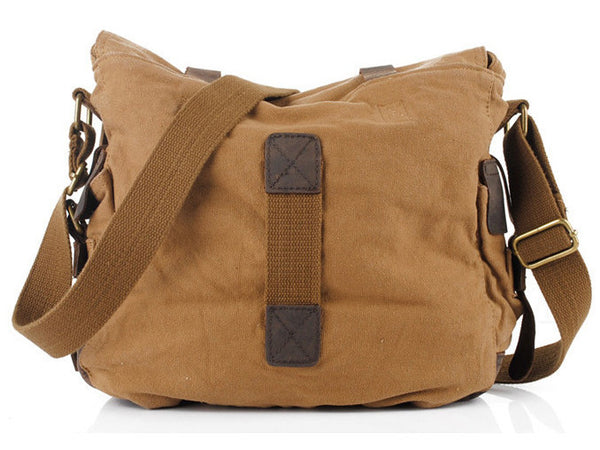 brown military style messenger bag by Serbags - back view