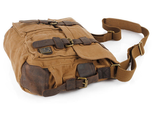side view of the brown military style messenger bag by Serbags