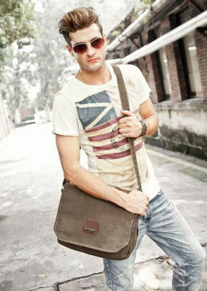 Multi Compartment Organizer Vintage Style Canvas Messenger Bag With Internal Pockets