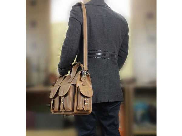 Selvaggio Multi Pocket Genuine Leather Satchel Bag Briefcase - Serbags  - 12