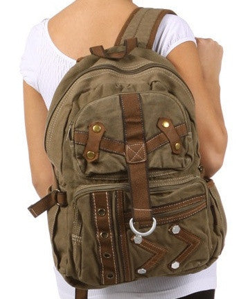 Army Green Multi-Pocket Canvas Backpack - Serbags - 2