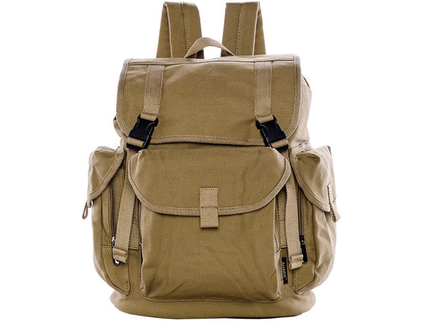 Military Multi-pouch Canvas Over-flap Backpack