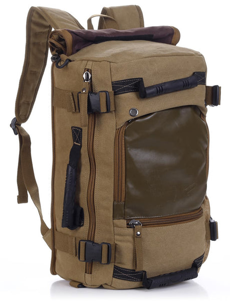 Multifunctional Weekender Convertible Outdoor Travel Canvas Backpack