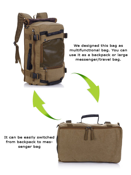 Multifunctional Weekender Convertible Outdoor Travel Canvas Backpack - Serbags  - 8