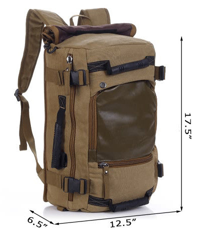 Multifunctional Weekender Convertible Outdoor Travel Canvas Backpack - Serbags  - 4