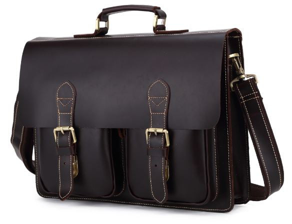 Urban Dark Brown Convertible Organizer Leather Laptop Briefcase for Men  with Adjustable Strap f4f18f896