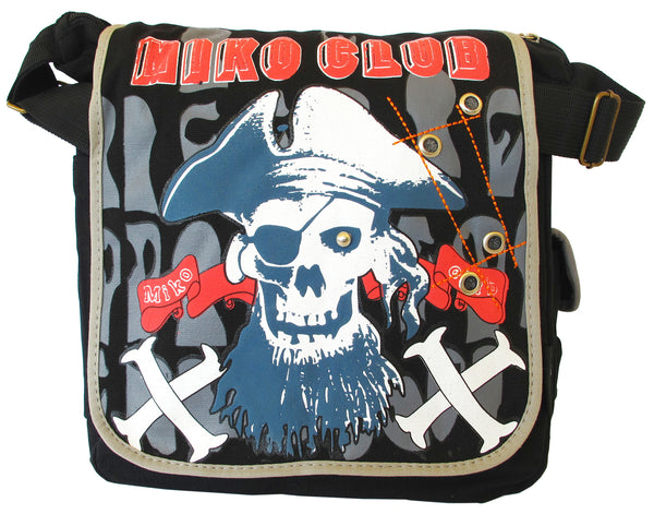 Pirate Skull Design Black Canvas Messenger Bag - Serbags  - 1