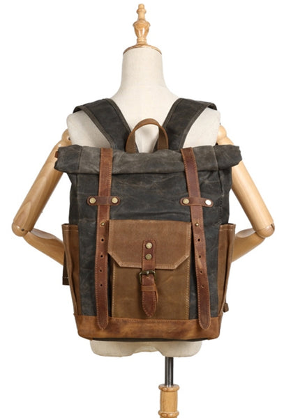 Waxed Canvas and Leather Backpack with Double Adjustable Straps for School, Work & Business
